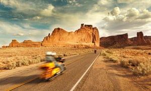 Motorcycle Touring of Arches National Park in Utah, USA