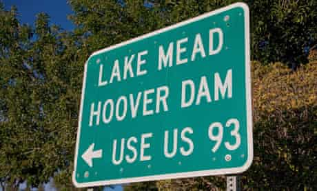 Lake Mead Hoover Dam US Route 93 road sign