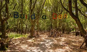 Build a den sign hangs in a sunlit patch of forest