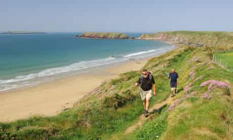 Walkers on the Pembrokeshire Coast Path