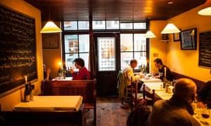 The interior of Andrew Edmunds restaurant on Lexington Street, Soho, London