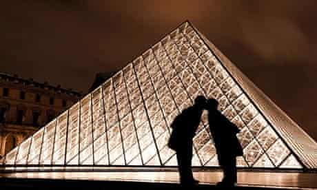 The kiss at the Louvre in Paris, France.