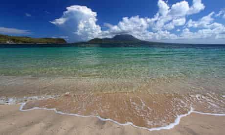 Sand and sea at Major's Bay Beach, St Kitts.