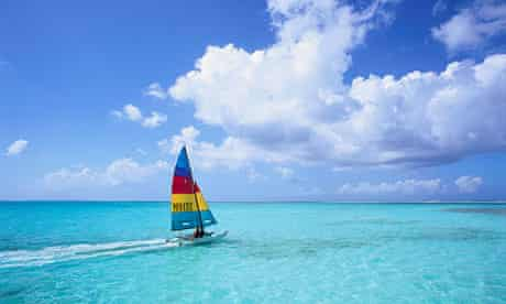 Sailing Catamaran off the Tobago Coast