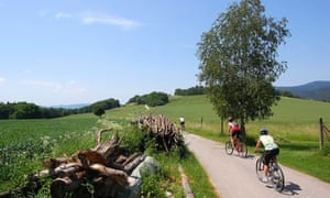 Cyclists on the Vienna to Prague Greenways network