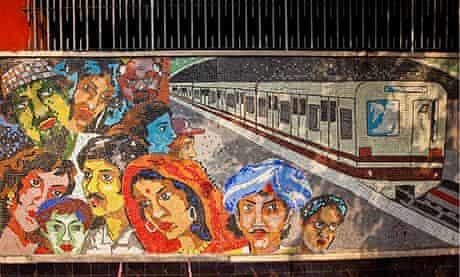 Tile mosaic on the Kolkata subway