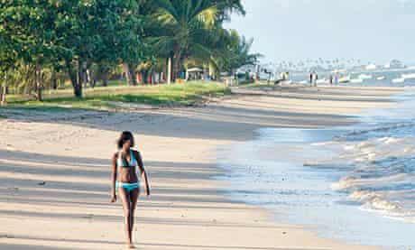 A beach on Itaparica island in the Baia de Todos os Santos, Bahia, Brazil