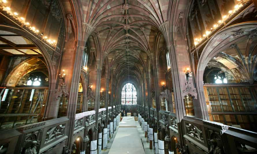 The restored interior of John Rylands library, Manchester