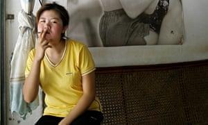 Laos woman smoking