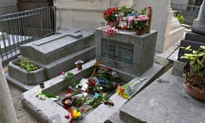 """Grave of Jim Morrison at the Pere Lachaise Cemetery Paris France"""