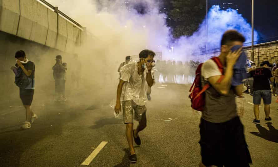 hong Kong protest tear gas