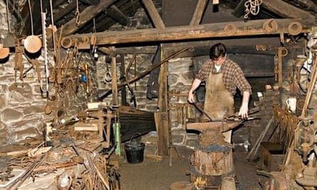 Traditional blacksmith at St Fagans national history museum in Wales