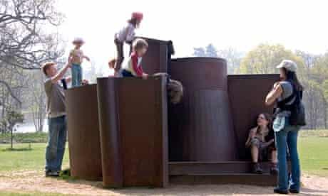 Family Enjoying Climbing on Anthony Caro, Dream City Steel Sculpture, Yorkshire Sculpture Park, UK
