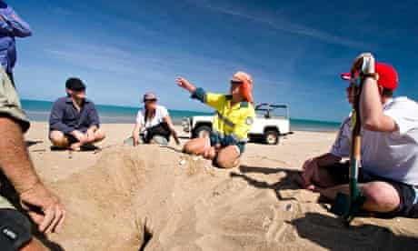 Volunteers listen to a national park ranger explain about the ecology of turtles, Cape York