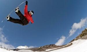 Snowboarder Jonathan Cheever at Mt Hood Meadows ski resort, Oregon