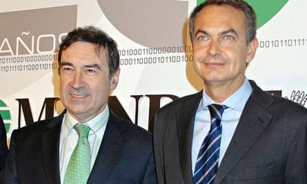 Pedro J Ramirez and Spanish prime minister Jose Zapatero