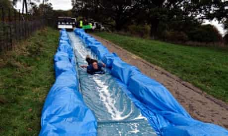 The waterslide gets a test run at Ashton Court last October