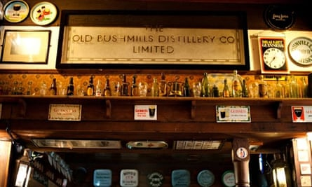 Interior shot of a sign above the bar in the Duke of York pub, Belfast