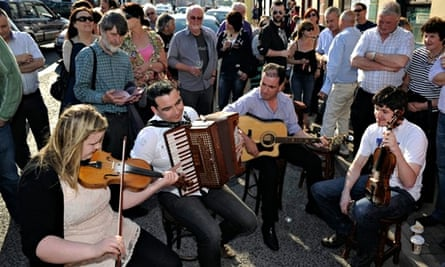 Music jam session outside The Corner House, Ardara, Donegal
