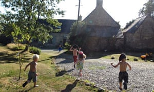 Children playing at Guebernez gite, brittany