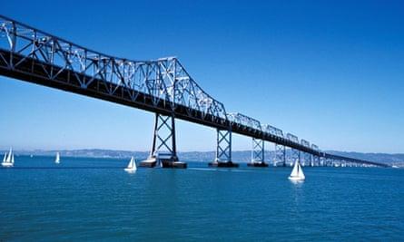 California CA San Francisco Bay Bridge and skyline between San Francisco and Oakland