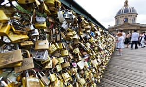 Better to have loved and locked? Padlocks left by couples on the Pont de l'Archevêché in Paris.