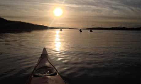Take a bow … preparing for night kayaking on Lough Hyne, Ireland
