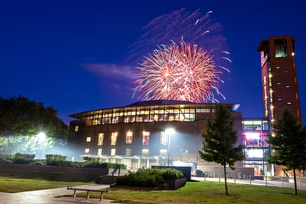 Fireworks display over RSC Theatre, Stratford-upon-Avon
