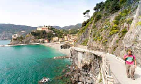 Walking the Sentiero Azzurro (no 2) path, with Monterosso in the background, Italy