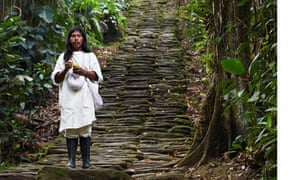 zalemaku on the steps of ancient Teyune, Colombia