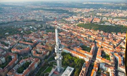 Prague. Aerial view of the Zizkov Television Tower