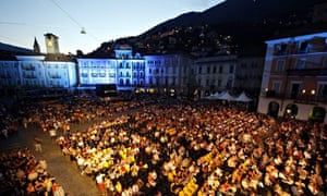 Cinema fans crowd the Piazza Grande at the Locarno film festival