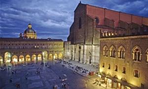 San Petronio cathedral and Palazzo dei Notai at Piazza Maggiore. Bologna