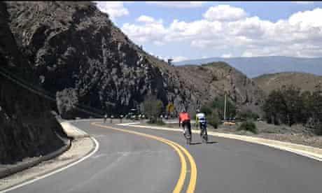 Kevin's cycling buddies in the hills near Boyacá.