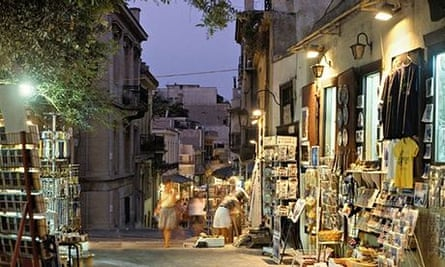 Street in the Plaka District at night, Athens, Greece