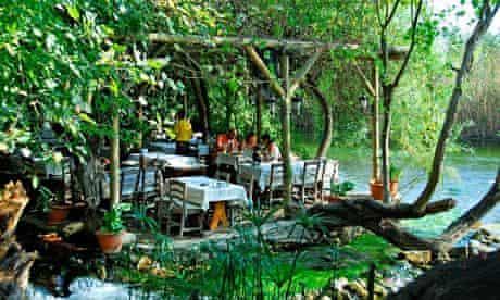A rustic restaurant on the banks of the Azmak river near Akyaka