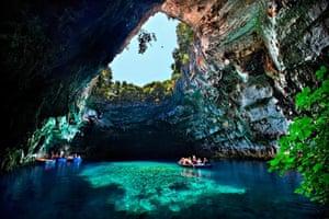 Melissani cave, Kefalonia i