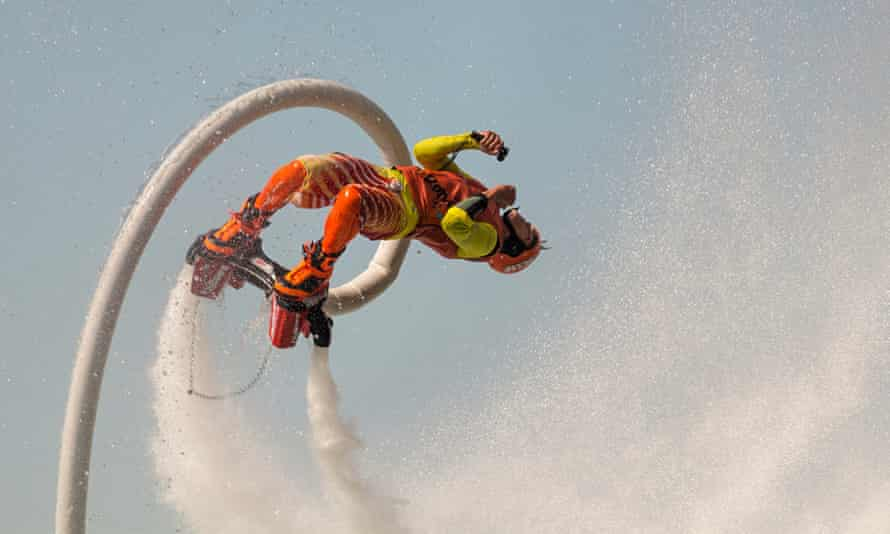 A flyboarder at the North American Flyboard Championships in Toronto, Canada
