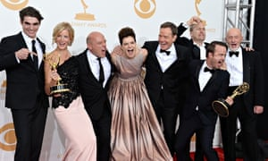 The cast of Breaking Bad celebrate after winning the 2013 Emmy award for oustanding drama series