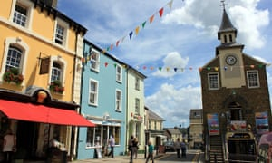 Old town hall and shops in Narberth, Pembrokeshire, Wales