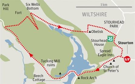 Stourhead ParkHill Camp, Wiltshire walk graphic