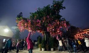 A wishing tree in Lam Tsuen, Hong Kong