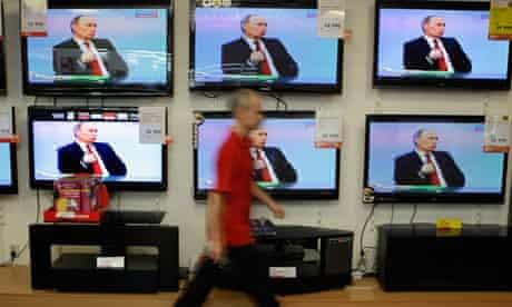 Russian prime minister Vladimir Putin on state TV