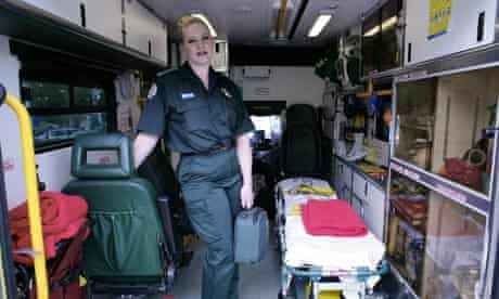 Paramedic Wendy Berry inside an ambulance