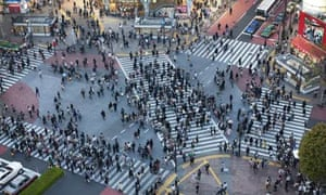 Pedestrians crossing the Shibuya intersection, Tokyo