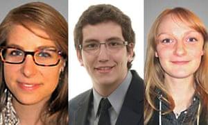 Canada's new democrats: Mylene Freeman, 22, Pierre-Luc Dusseault, 19, and Charmaine Borg, 20.