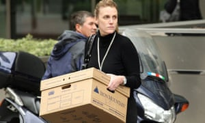Lehman Brothers employees leaving Canary Wharf