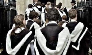 University graduates at Cambridge dressed in robes