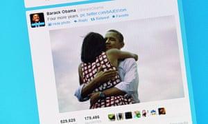 Computer showing Barack Obama's victory tweet
