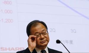 Sharp president Takashi Okuda announces earnings results
